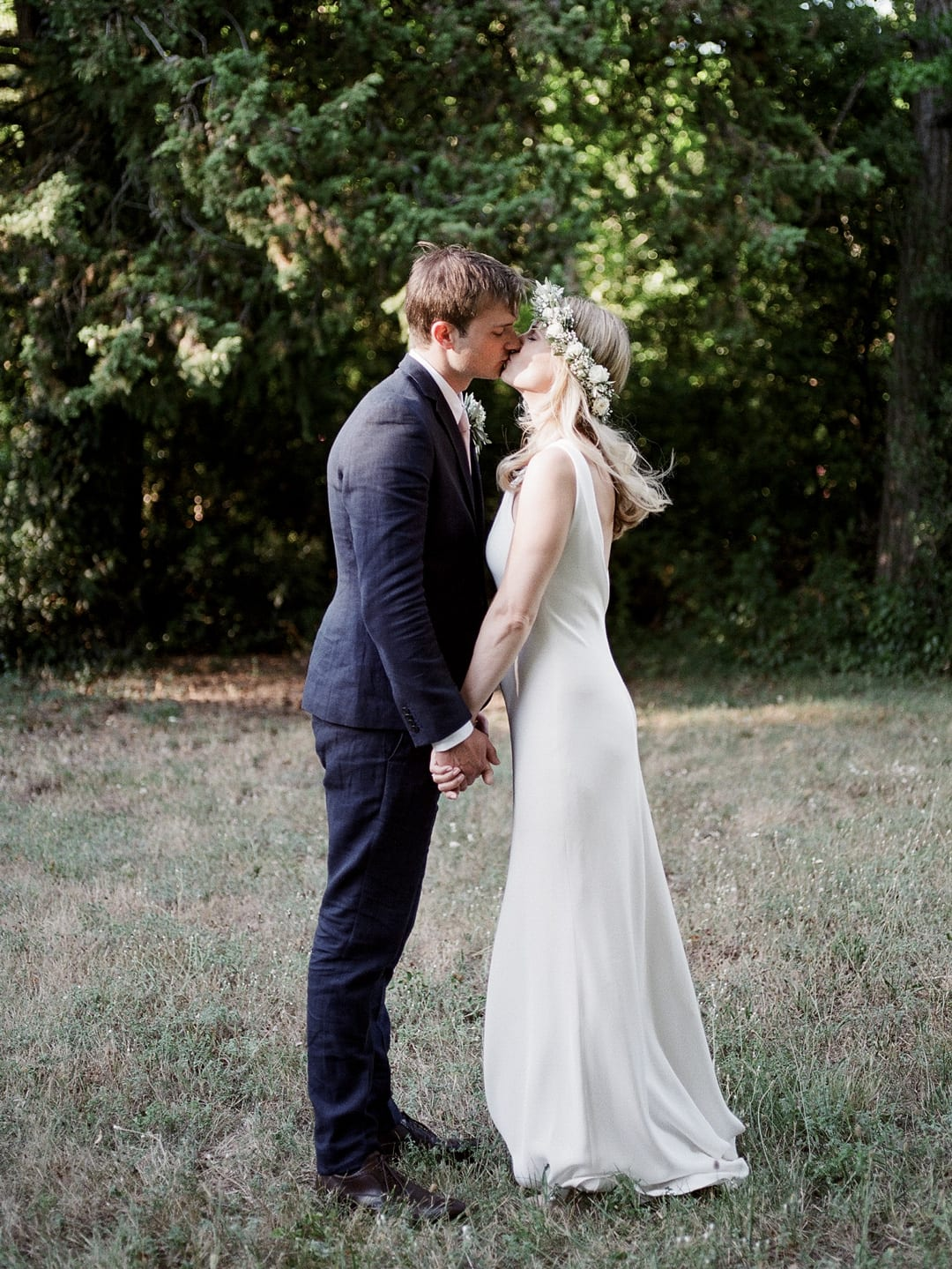Stealing a kiss on our wedding day