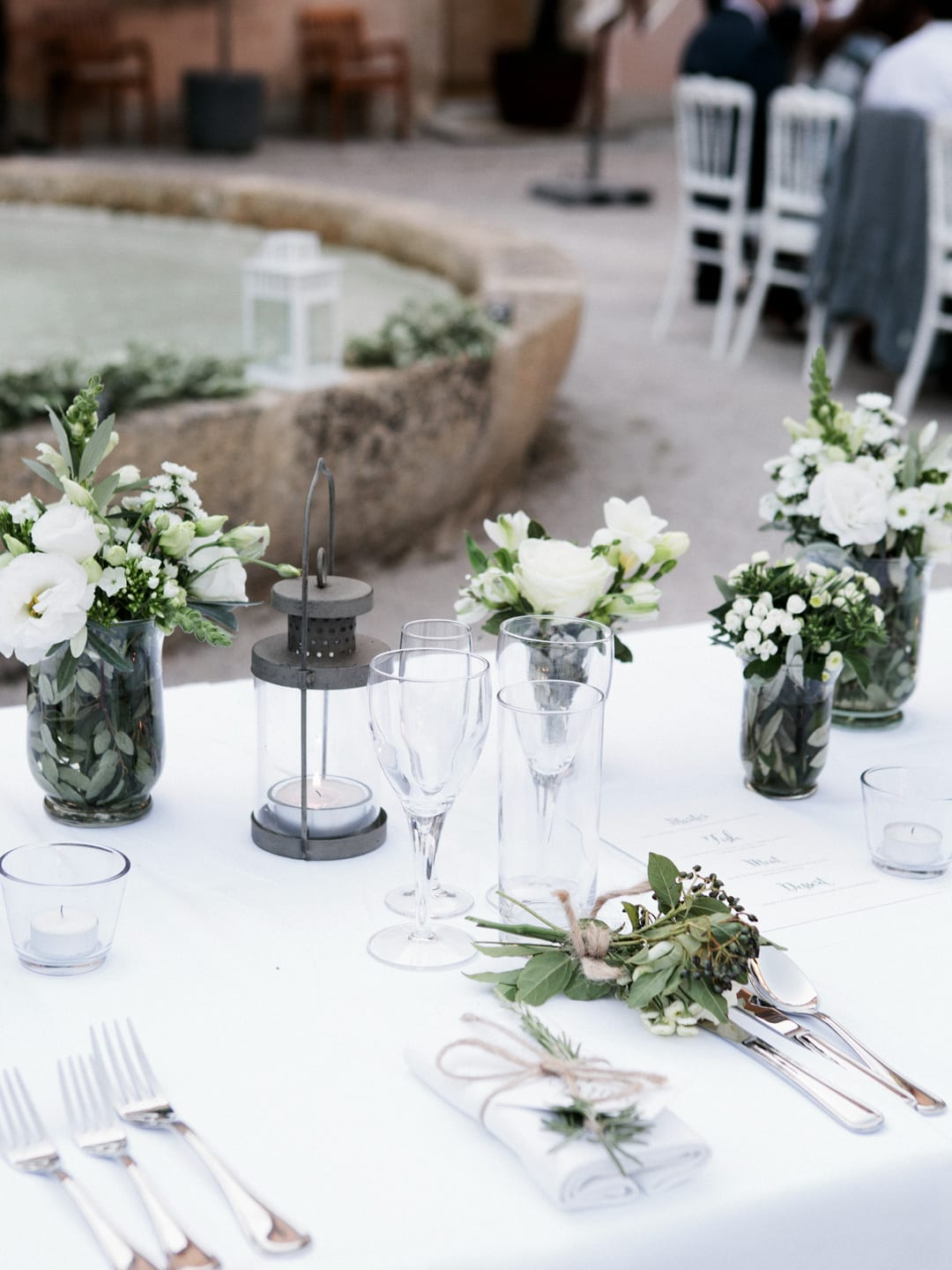 White and green wedding table setting