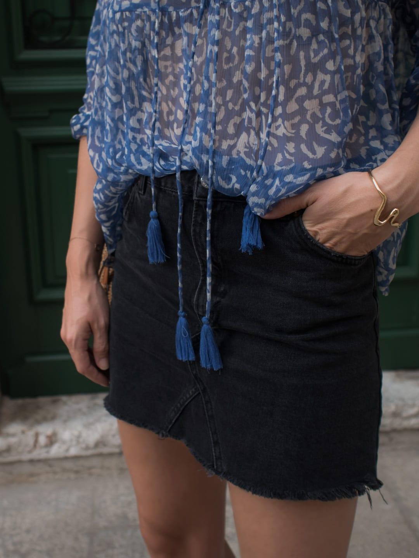 Cloe Cassandro Top, Topshop Black Denim Skirt, Ancient Greek Sandals, Wood/Grey Round Woven Bag in Rovinj, Croatia