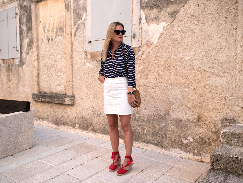 Bale, Croatia | Mads Norgaard Stripe Top, White Denim Skirt & Red Espadrilles
