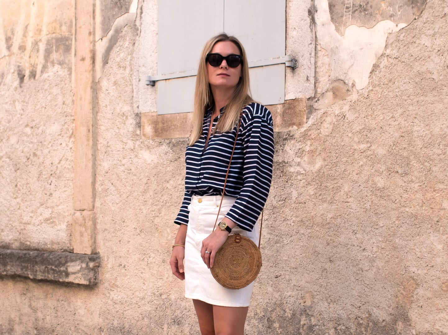 Bale, Croatia | Mads Norgaard Stripe Top, White Denim Skirt & Red Espadrilles