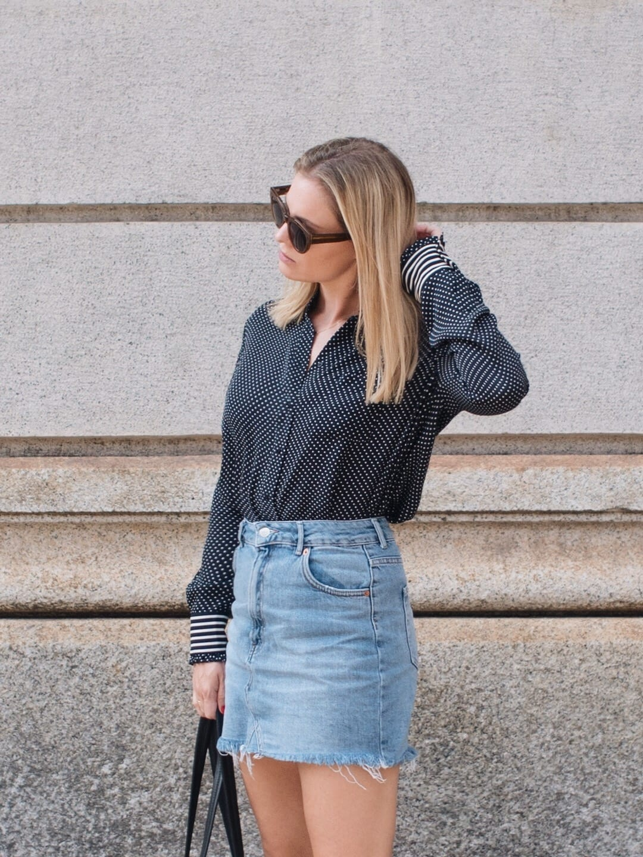 ME+EM Silk Blouse, Topshop Denim Skirt, Converse & Jones Bootmaker Bag in Milan