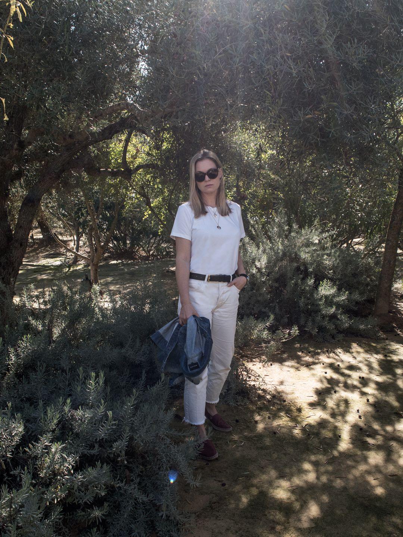 Organic Basics T-Shirt, Mango Committed Jeans & Loewe Espadrilles at Hacienda de San Rafael, Seville