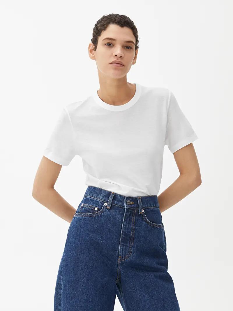 ARKET Organic Cotton Ice Crepe T-Shirt White