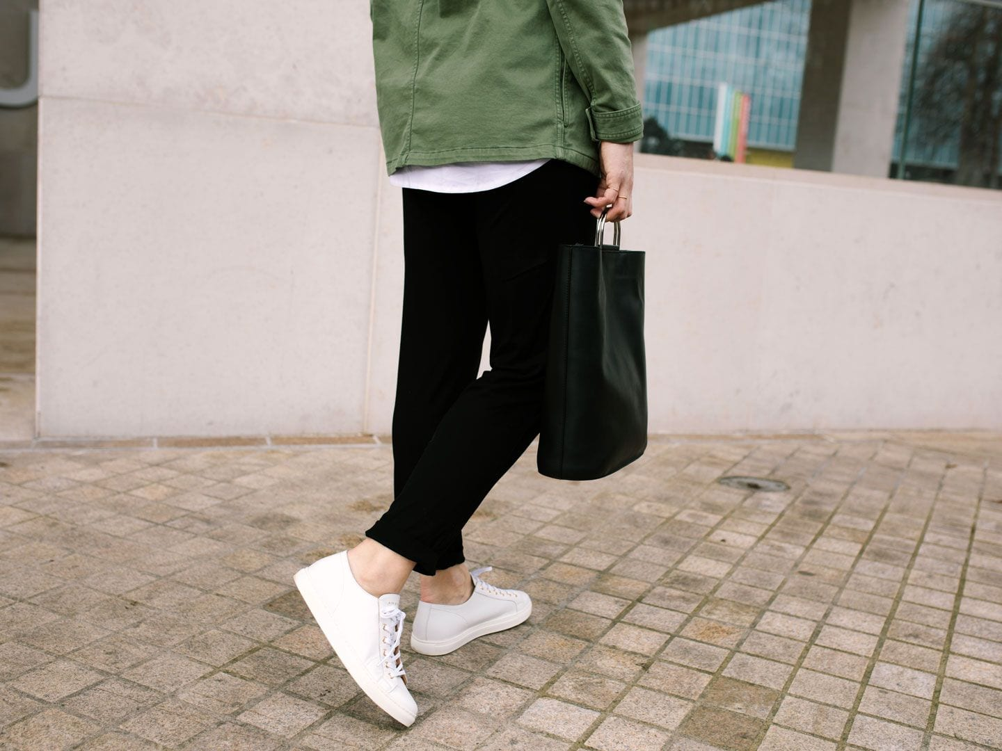 Baukjen Cargo Jacket, Jersey Trousers, White Shirt, Air & Grace White Trainers & PB 0110 Bag