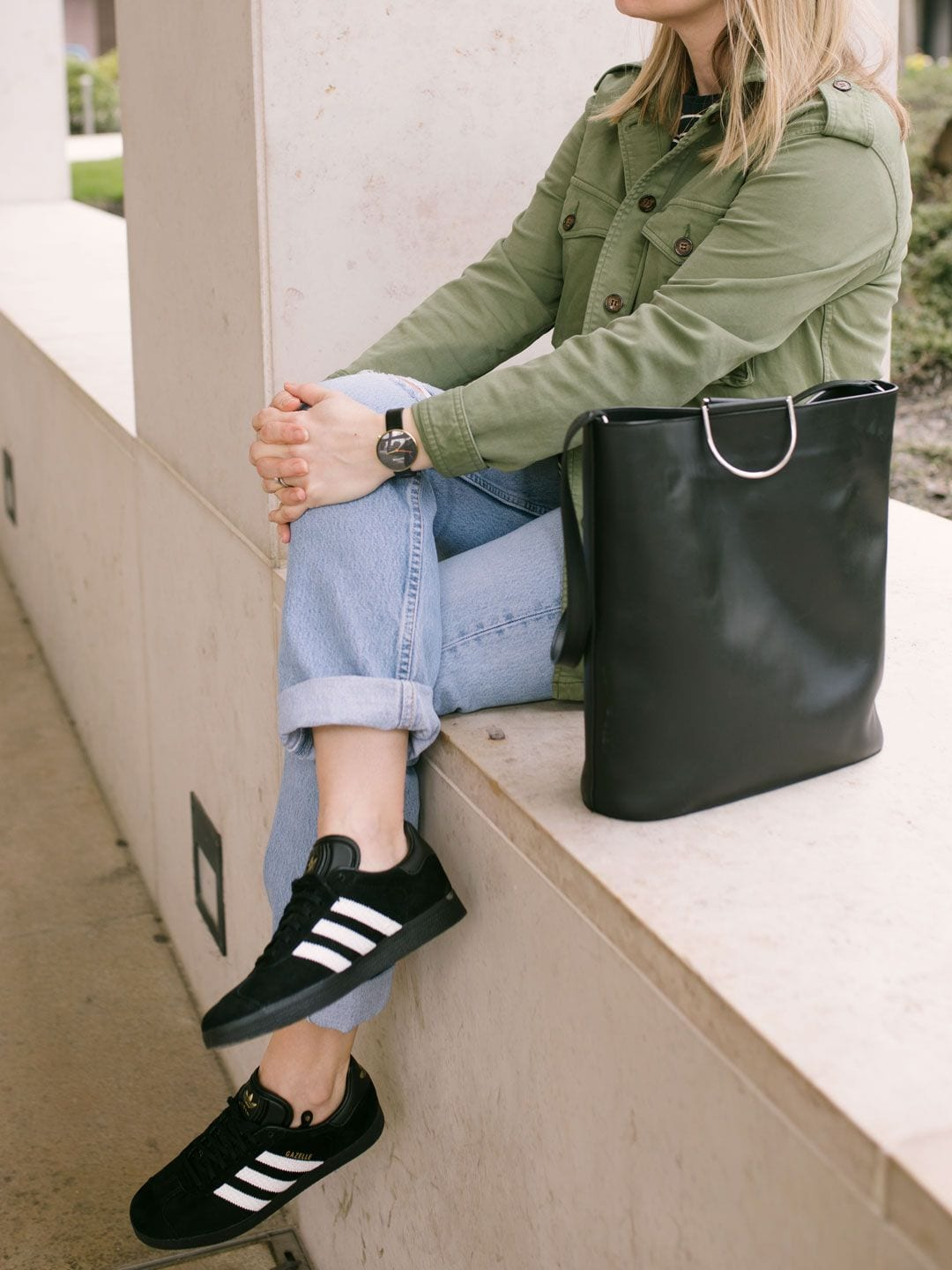 Baukjen Cargo Jacket, Vintage Levis, Adidas Gazelles, Great Plains Stripe T-shirt, & PB 0110 Bag