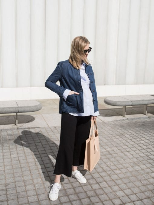 Parka London Denim Jacket, ME+EM Blue Shirt, ME+EM Black Jersey Cropped Trousers, PB 0110 AB 1 Tote & Air & Grace Cherub Trainers