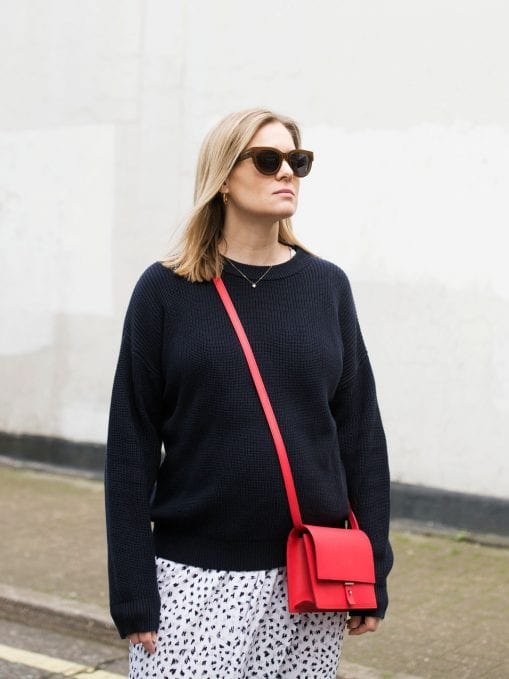 Vikki Pearson in Twist & Tango Sweater, Great Plains Dress, PB 0110 Shoulder Bag and Air & Grace Trainers