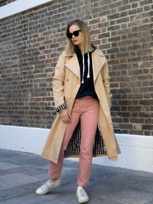 Baukjen Trench, Beaumont Organic Hoodie, Arket Pink Jeans