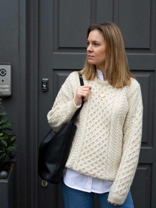 Bramble Green Aran Sweater, Baukjen White Shirt, Saltspin Blue Jeans & Bass Weejuns | Building A Sustainable Wardrobe x Style&Minimalism