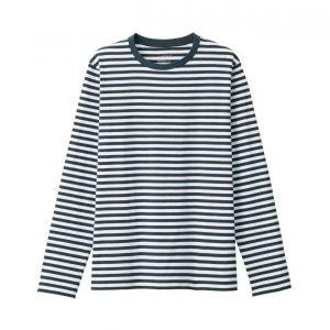 Muji Indian Cotton Jersey Stitch Crew Neck Long Sleeve T-Shirt Striped