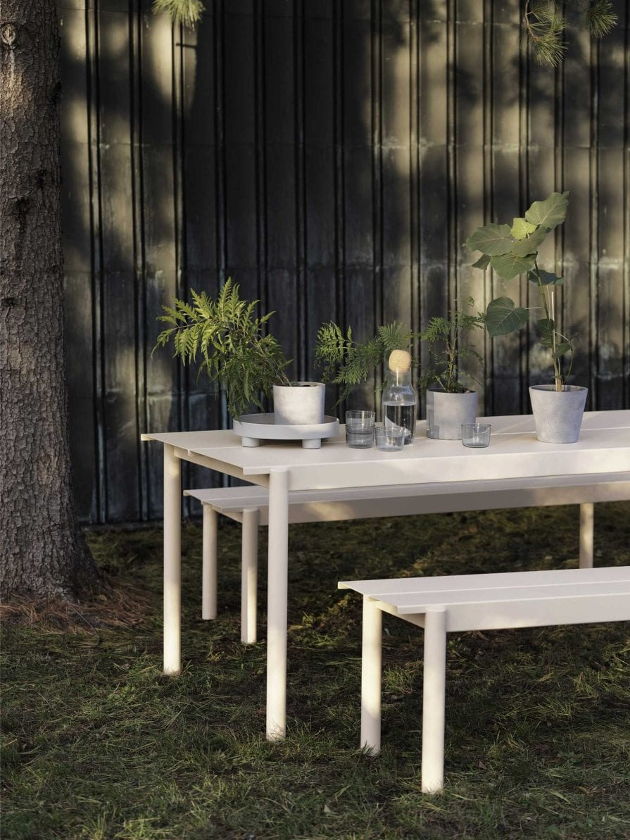 Muuto Linear Steel Table & Bench in Off-White