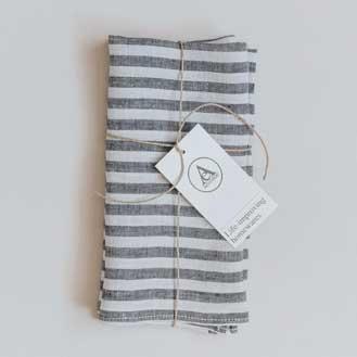 Aerende Black and White Stripe Linen Napkin