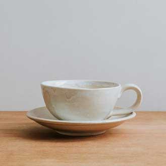 Aerende Cream Stoneware Coffee Cup & Saucer
