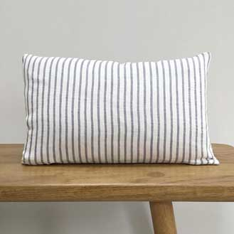 Aerende Linen Lumbar Cushion, Grey and White Stripes