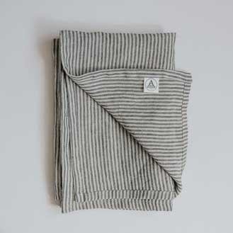 Aerende Linen Tea Towel, Black & Grey Stripes