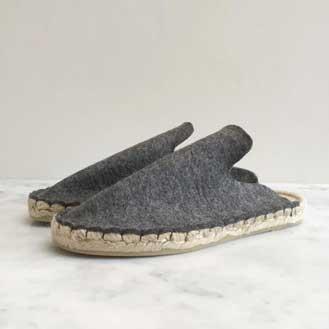 Aerende Wool Felt Espadrille Slippers, Grey
