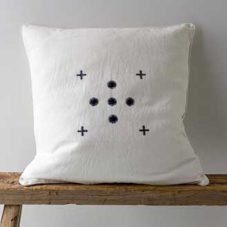The Small Home Indigo Hand Embroidered Cushion – Square