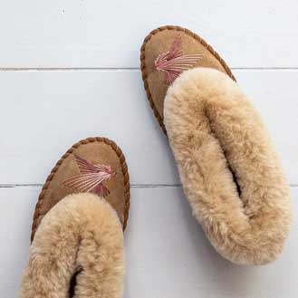 The Small Home Sheepskin Moccasin Slippers Love Birds Pink