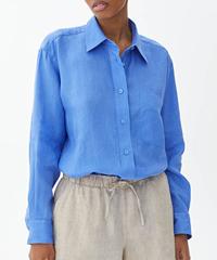ARKET Oversized Linen Shirt Bright Blue