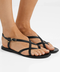 ANCIENT GREEK SANDALS Semele black leather sandals