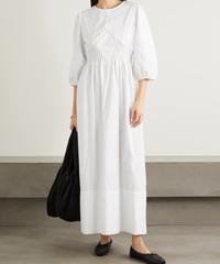 CAES Shirred Lyocell Cotton Blend Poplin Maxi Dress