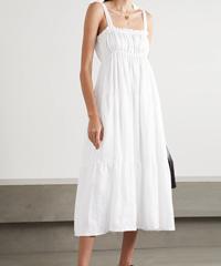 Faithfull The Brand Bellamy Tie-Detail Tiered Linen Midi Dress White